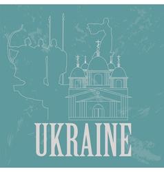 Ukraine landmarks Retro styled image vector image