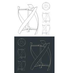 Vertical axis wind turbine blueprints vector