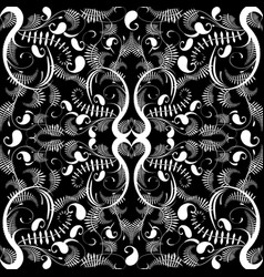 vintage black and white paisley seamless pattern vector image