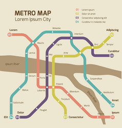 vintage colors subway map concept vector image