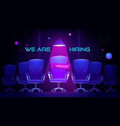 We are hiring cartoon banner with vacant chair vector