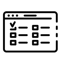 Web page window icon outline style vector