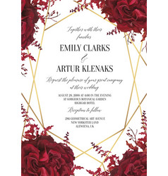 wedding floral invite invitation card design wate vector image