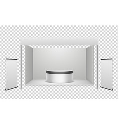 white exhibition booth blank exhibition stand vector image
