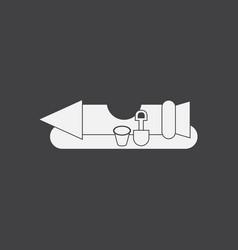 White icon on black background seat rocket vector