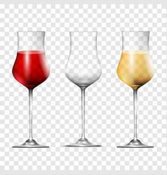 Wine transparent glasses set realistic 3d style vector