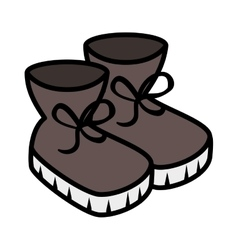 Winter boots shoes icon vector