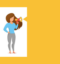 Woman holding loudspeaker calling for attention vector