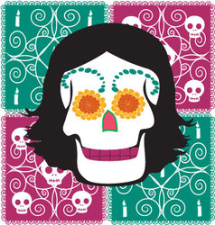 Woman mexican skull vector