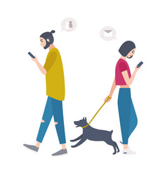 Young woman walking dog on leash and man passing vector