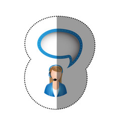 color sticker of circular frame with woman call vector image