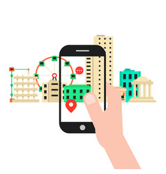 colored augmented reality with cityscape vector image