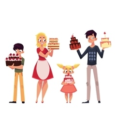 Family members father mother son and daughter vector image vector image