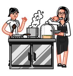 hand sketch chef vector image