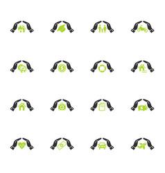 insurance hand icon set vector image