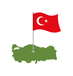 Turkey map and flag turkish banner and land area vector