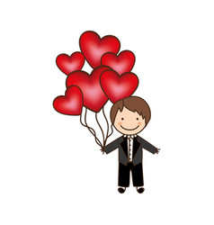 Bridegroom with red heart balloons in his hand vector