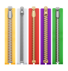 clothes zipper isolated metal zippers vector image vector image