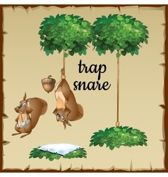 Funny Squirrel tied to a tree upside down vector image vector image