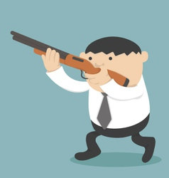 Obese Businessman holding a gun vector image