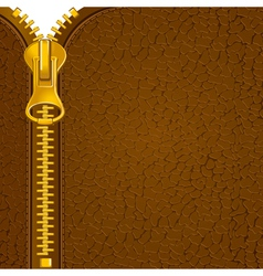 Zipper on the leather material vector image