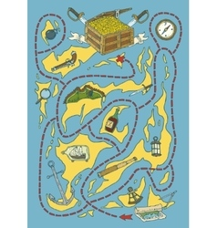 Treasure Island Map Maze Game vector image