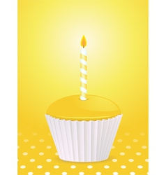 yellow cupcake vector image vector image