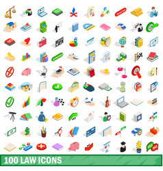 100 law icons set isometric 3d style vector