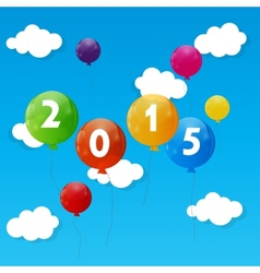 Color glossy balloons 2015 new year background vector