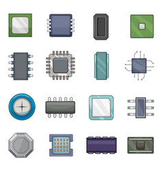 computer chips icons set cartoon style vector image vector image