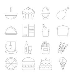 Food line icon set vector image