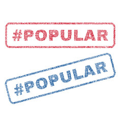 hashtag popular textile stamps vector image