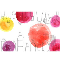 layout with cosmetics and watercolor spots vector image vector image