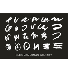 Set of grunge abstract symbols brush vector