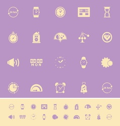 Time related color icons on violet background vector image vector image