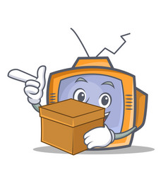 Tv character cartoon object with box vector