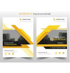 yellow black annual report brochure flyer design vector image