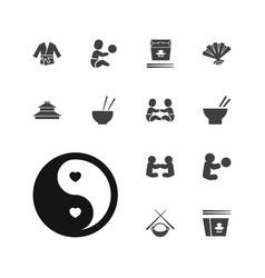 13 asian icons vector