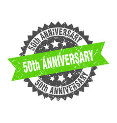 50th anniversary stamp grunge round sign with vector