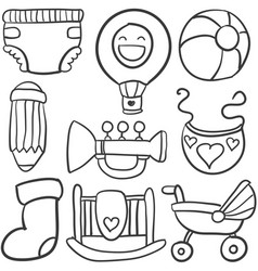 Baby object set of doodles vector