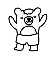 Bashower cute bear with short pants cartoon vector