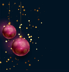 beautiful 3d christmas balls with falling glitter vector image