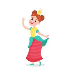 beautiful happy cartoon princess girl character in vector image