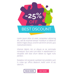 best discount with 25 off promotional emblem vector image