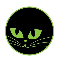 Black cat icon on the plate vector image