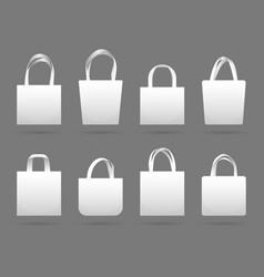 Blank white canvas fabric shopping bag vector