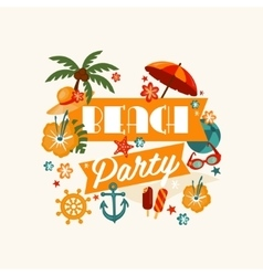 Brach Party Banner with Lettering vector image