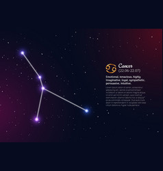 Cancer zodiacal constellation with bright stars vector