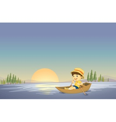Canoe boy background vector