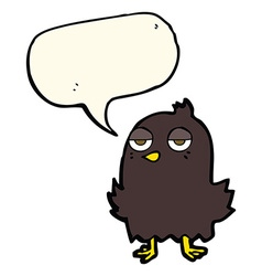 Cartoon bored bird with speech bubble vector